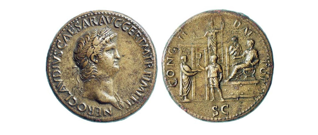 Coin with Caesars image